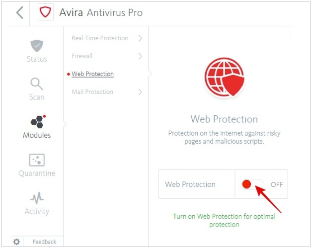 how to temporarily disable avira antivirus